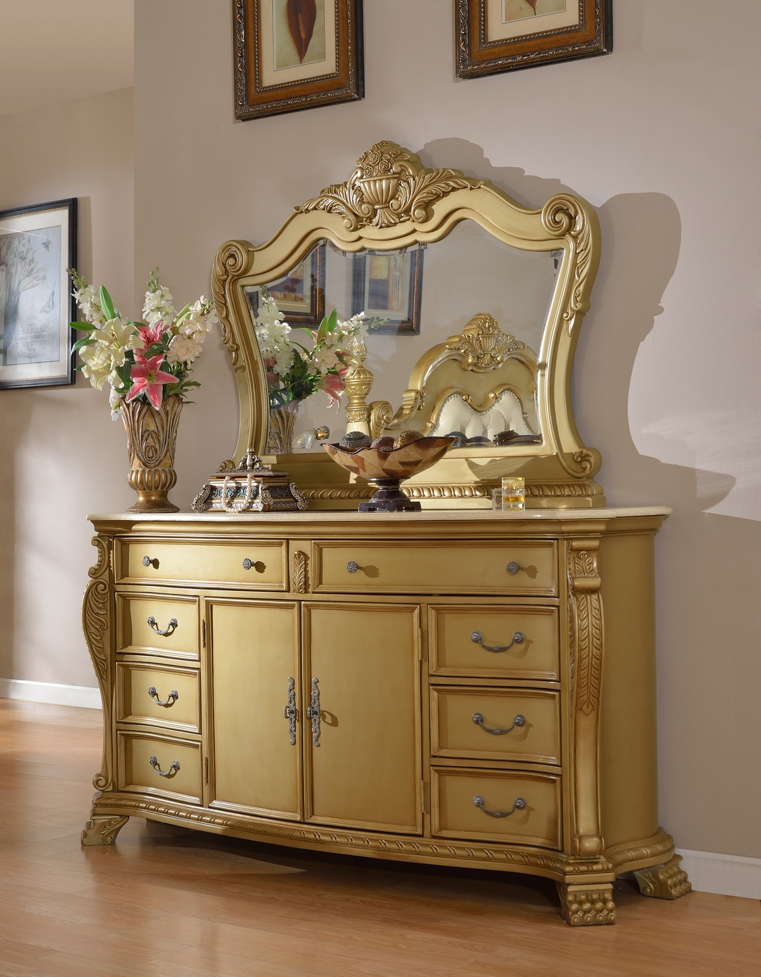 Lavish low post king 4 piece bedroom set in gold with for 4 piece bedroom furniture set