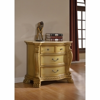 Lavish Traditional French Gold 4-Drawer Marble Nightstand