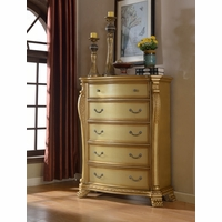 Lavish Traditional French Gold 5-Drawer Storage Chest