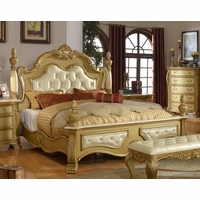 Lavish Traditional Gold Low Post Queen Bed With Marble And Crystal