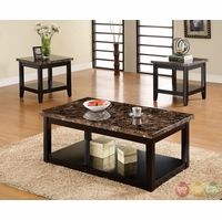 Lawndale Contemporary Black Accent Tables Set with Hidden Casters CM4860