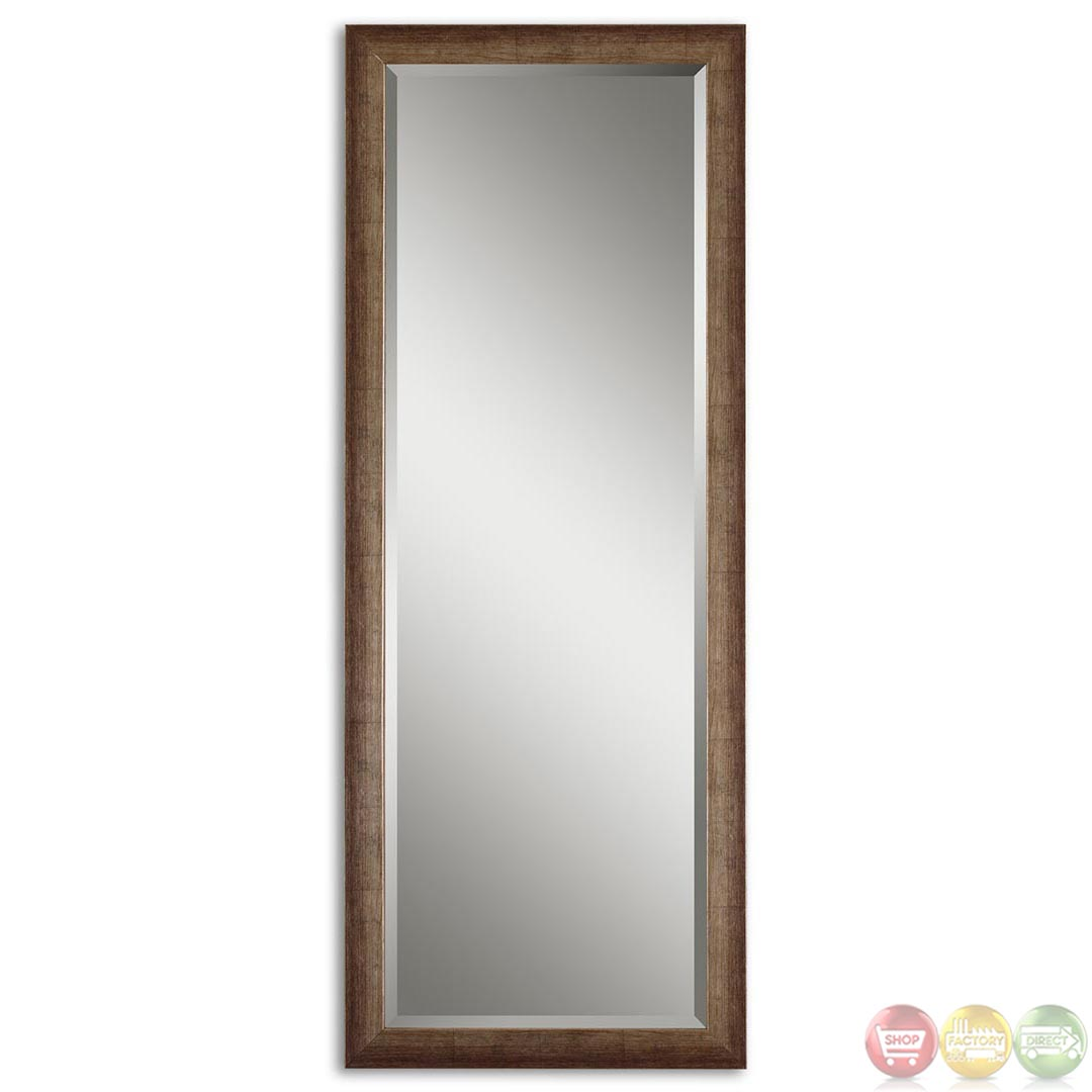 Lawrence modern antiqued silver large mirror 14168 for Large silver modern mirror