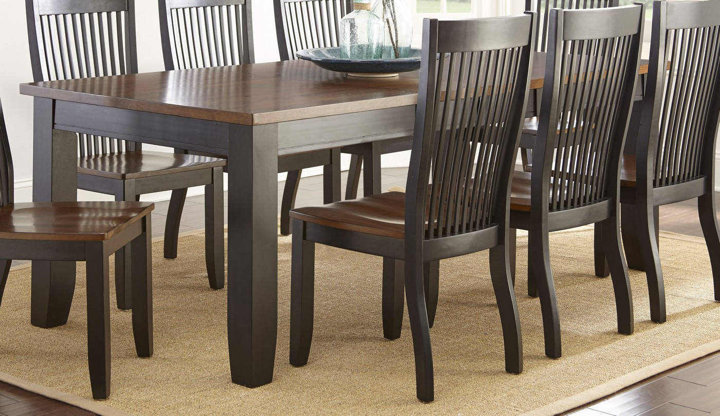 Lawton transitional mission style wood dining table in for Mission style dining table