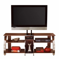 """Layla 58"""" Polished Chrome And Cherry TV Stand With TV Mounting Bracket"""