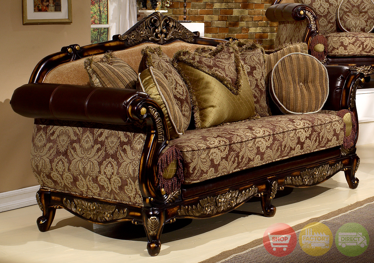 Leather fabric traditional formal living room set hd 26 for Formal leather living room furniture