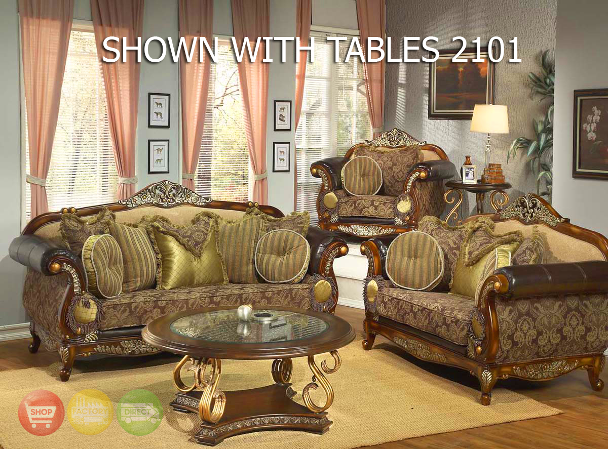Leather fabric traditional sofa set formal living room for Traditional living room furniture