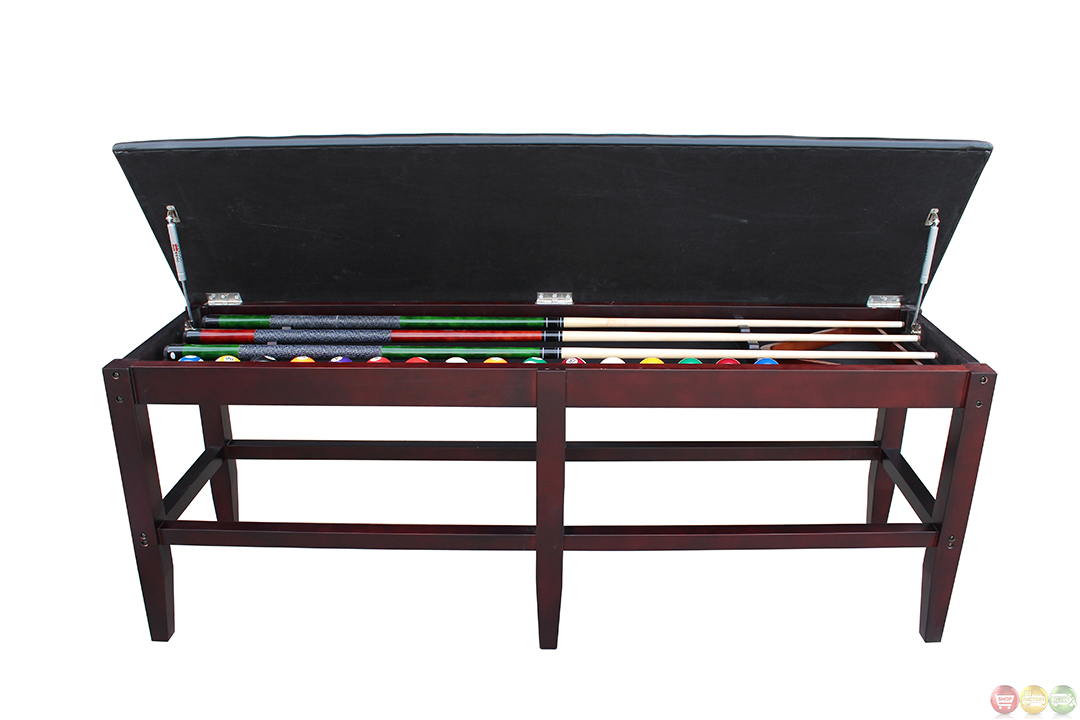Leatherette Mahogony Pool Table Storage Bench