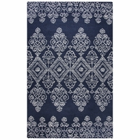 """Legacy Soft Wool Cotton Loop Rectangle Runner Area Rug 2'6""""x 8' Ivory White Navy"""