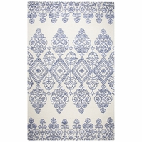 """Rizzy Legacy Soft Wool Cotton Loop Rectangle Runner Area Rug 2'6""""x 8' Blue Ivory"""