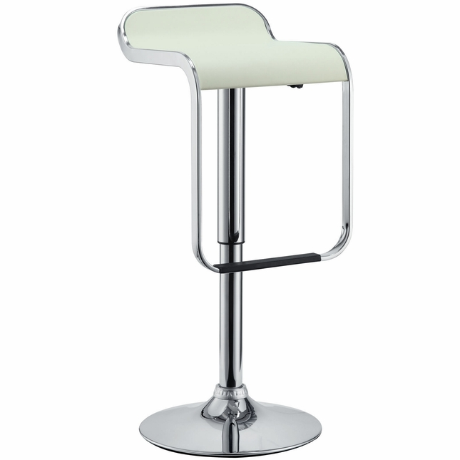 Lem Modern Backless Vinyl Bar Stool With Foot Rest And Chrome Finish, White