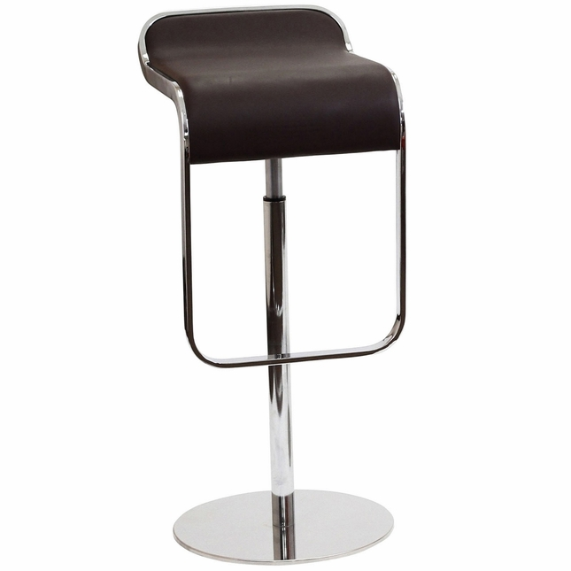 Lem Modern Italian Leather Bar Stool With Chrome Frame, Brown