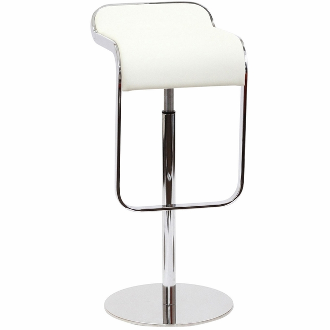 Lem Modern Italian Leather Bar Stool With Chrome Frame, White