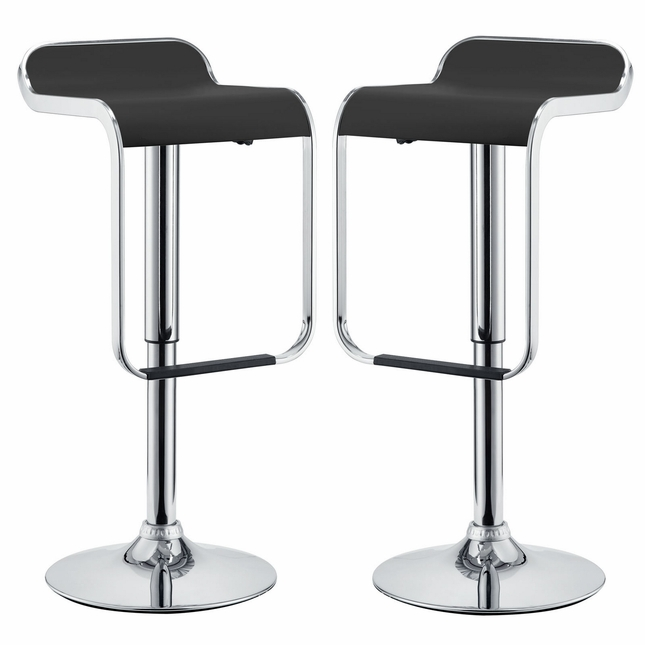 Set Of 2, Lem Modern Vinyl Bar Stool With Polished Chrome Base, Black