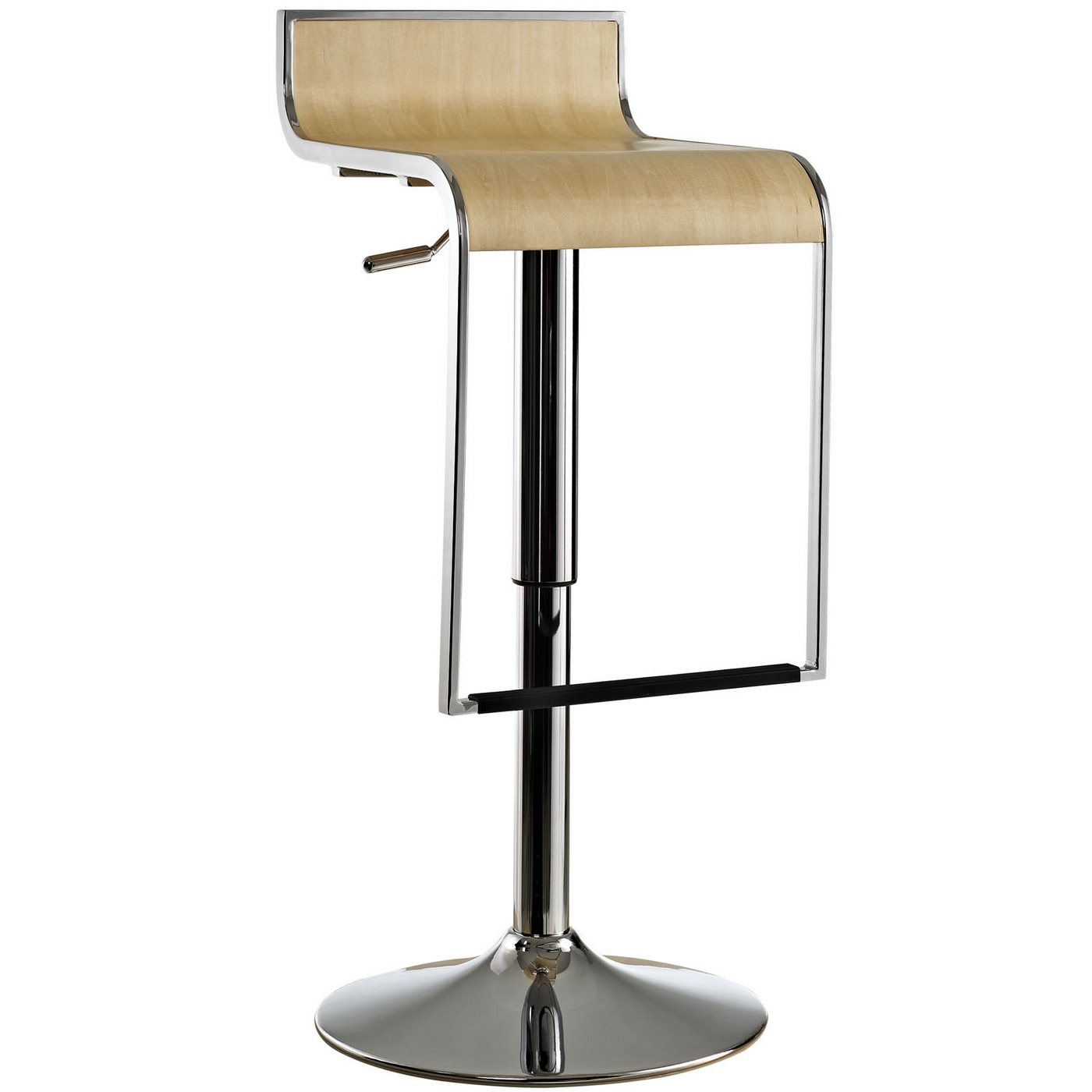 Lem Modernistic Adjustable Wood Bar Stool W Chrome Frame