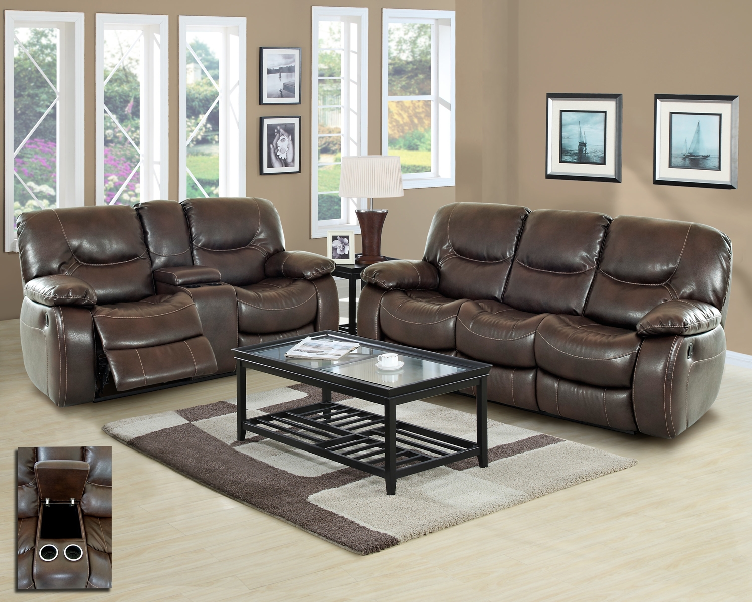 Harvey casual motion brown bonded leather living room set w cup holders for Motion living room furniture