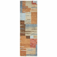 """Rizzy Leone Soft Wool Runner Area Rug 2'6""""x 8'Rust Brown Grey Tan Red Blue Block"""
