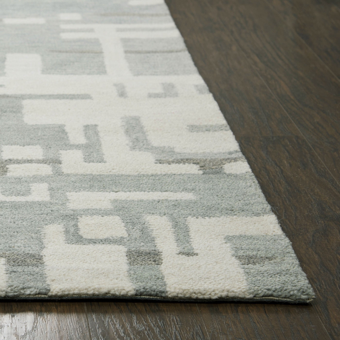 Leone Abstract Lines Wool Area Rug In Gray Off White 9 X 12