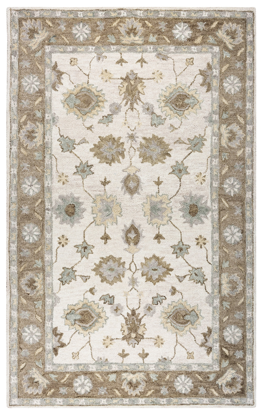 Leone Bordered Vines Wool Area Rug In Natural Amp Brown 9