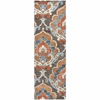 """Leone Soft Wool Runner Area Rug 2'6""""x 8' Brown Paprika Red Tawny Blue Medallion"""