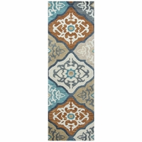 """Leone Soft Wool Runner Area Rug 2'6""""x 8' Ivory White Grey Paprika Red Medallion"""