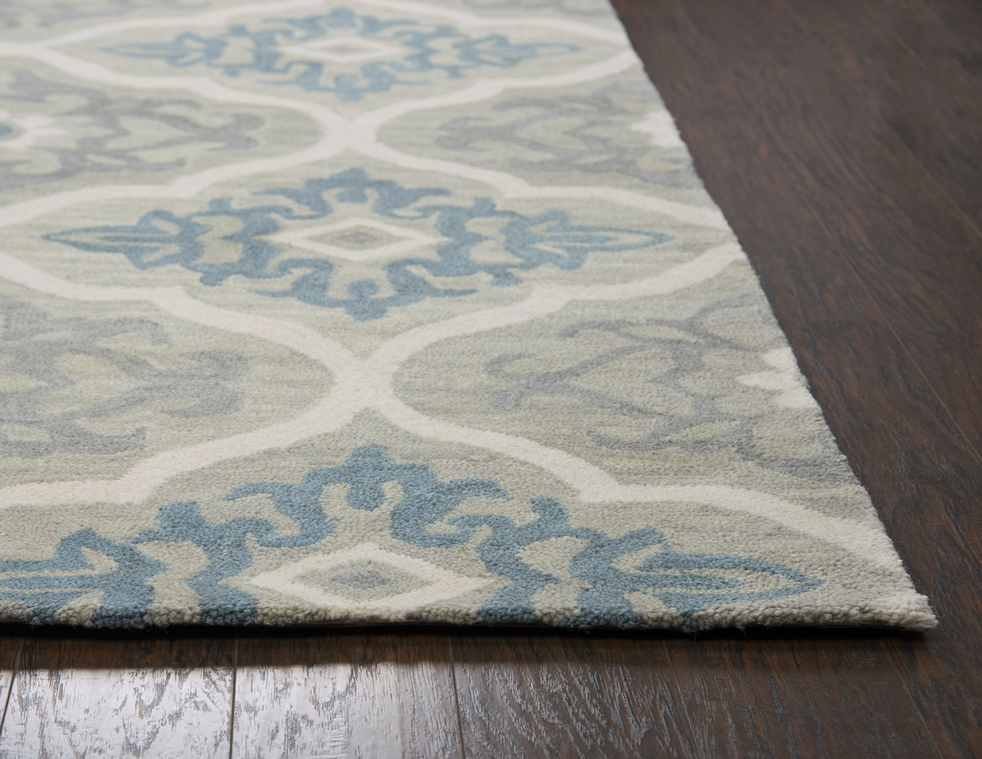 Leone Outlined Medallion Wool Area Rug In Gray Light Blue