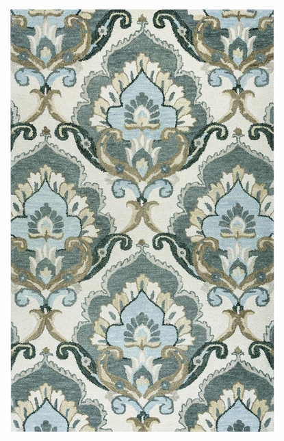 Leone Traditional Motifs Floral Wool Area Rug In Beige