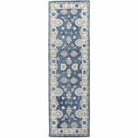 """New Leone Soft Wool Cotton Rectangle Runner Area Rug 2'6""""x 8'Blue Natural Motifs"""