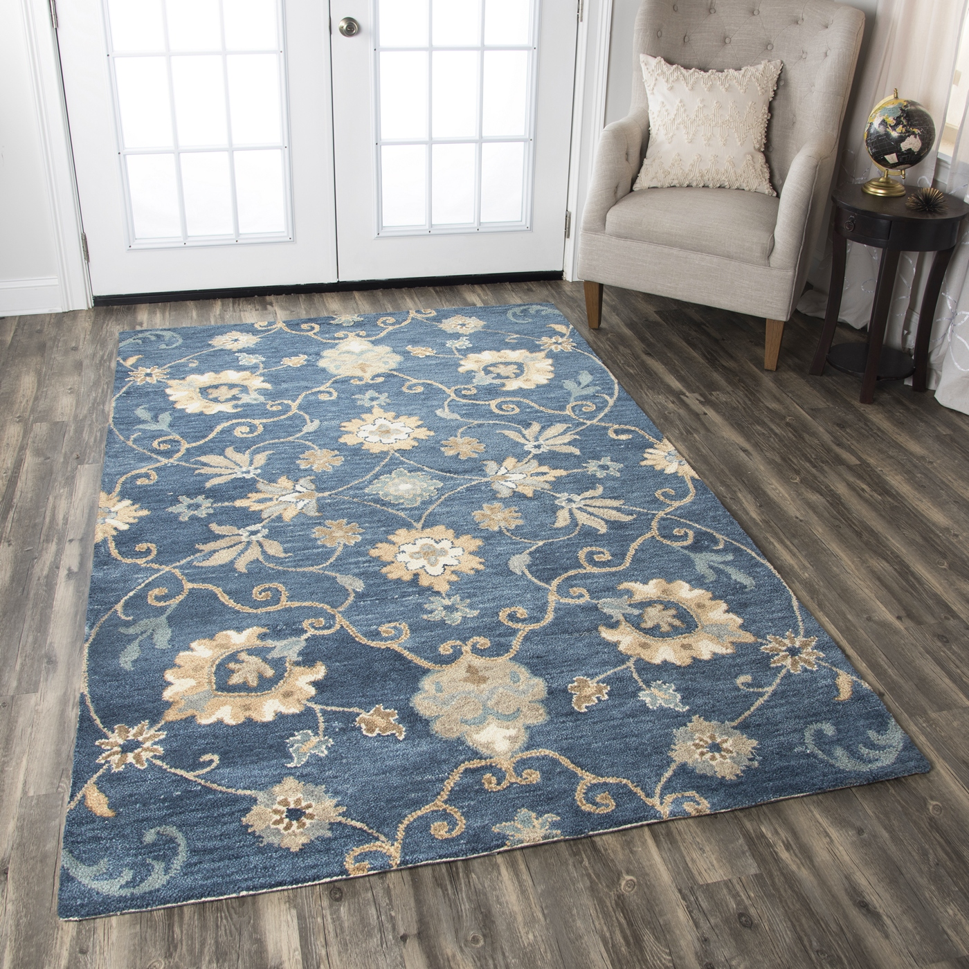 Leone Traditional Motifs Vines Wool Area Rug In Blue