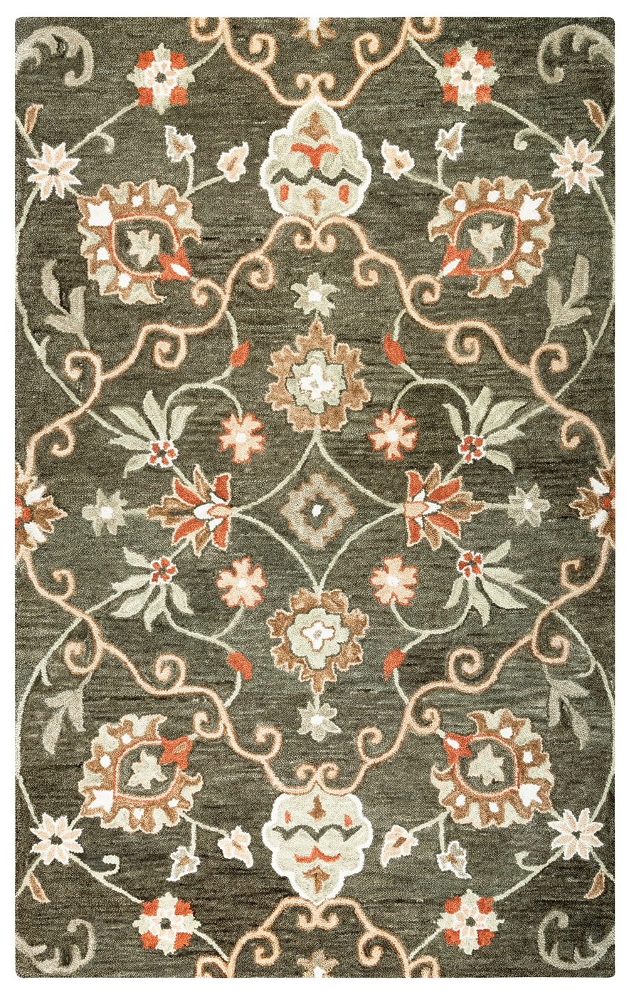Leone Traditional Motifs Vines Wool Area Rug In Brown