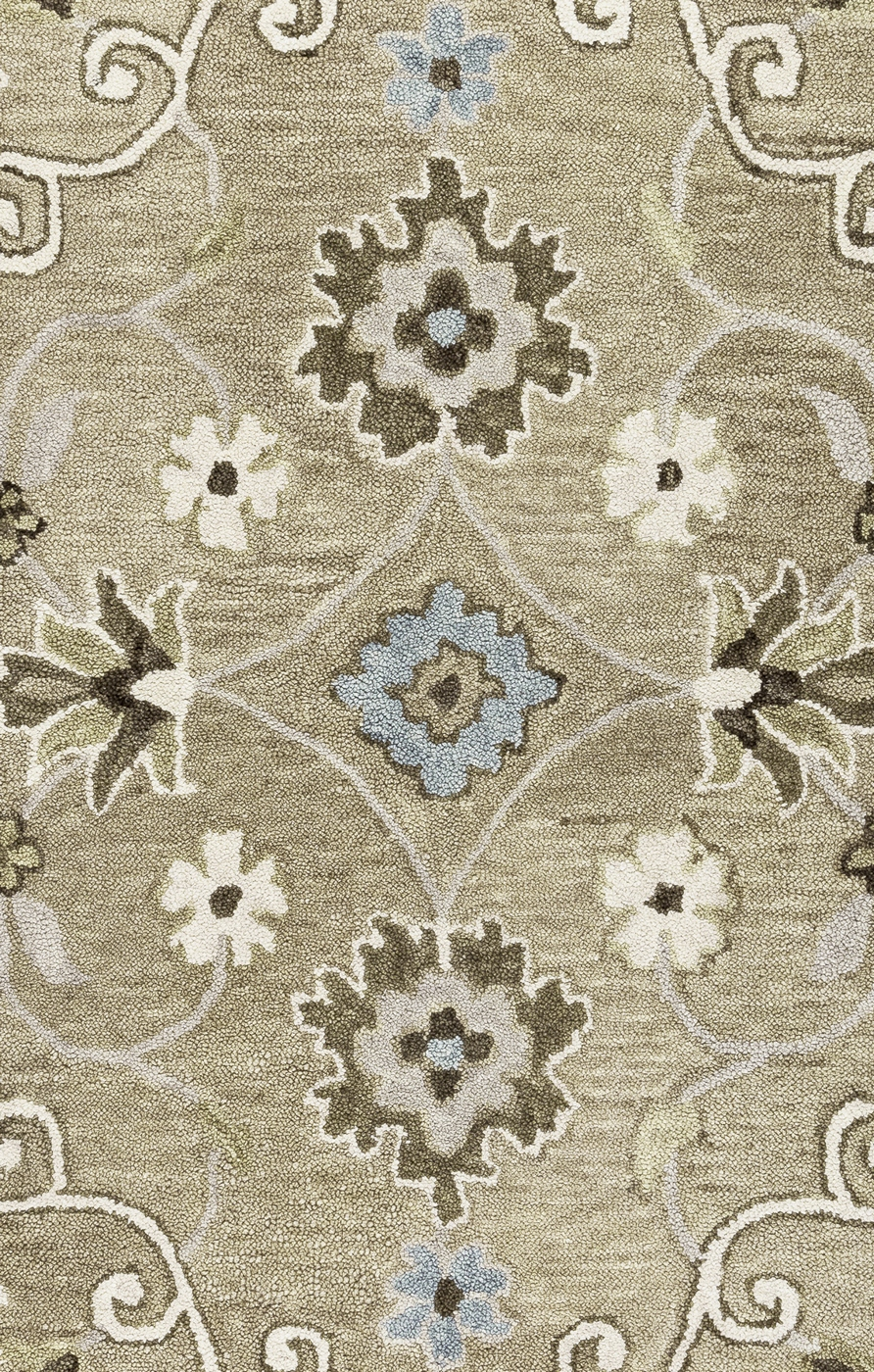 Leone Traditional Motifs Vines Wool Area Rug In Grey Ivory