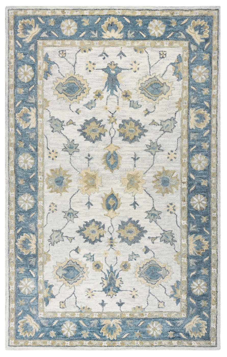 Leone Traditional Motifs Vines Wool Round Rug In Natural