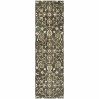 """New Leone Soft Wool Runner Area Rug 2'6""""x 8'Brown Tawny Green Paprika Red Motifs"""