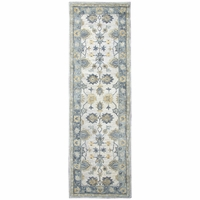 """New Leone Soft Wool Cotton Rectangle Runner Area Rug 2'6""""x 8'Natural Grey Motifs"""