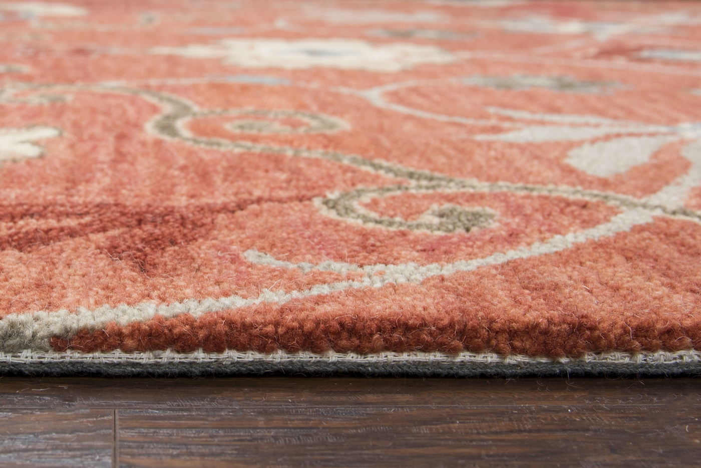 Leone Traditional Motifs Vines Wool Area Rug In Red Blue