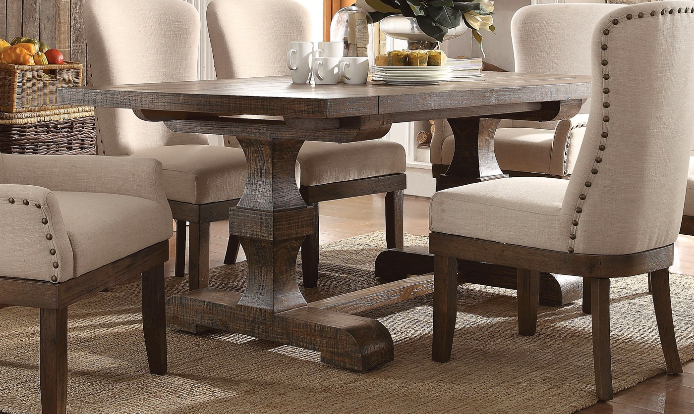 Leonel 72 Quot Trestle Dining Table In Brown Distressed Wood