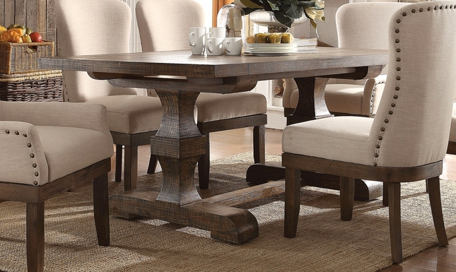 Leonel Trestle Dining Table In Brown Distressed Wood Finish - 72 trestle dining table