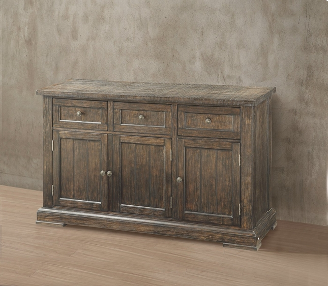 Leonel Rustic 3-Drawer Server in Brown Distressed Wood Finish