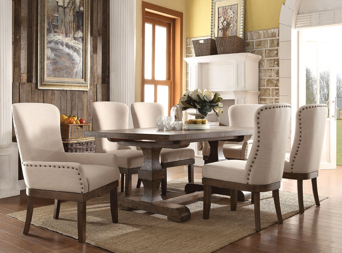 Leonel Rustic 5 Pc 72 Quot Trestle Dining Table Set In