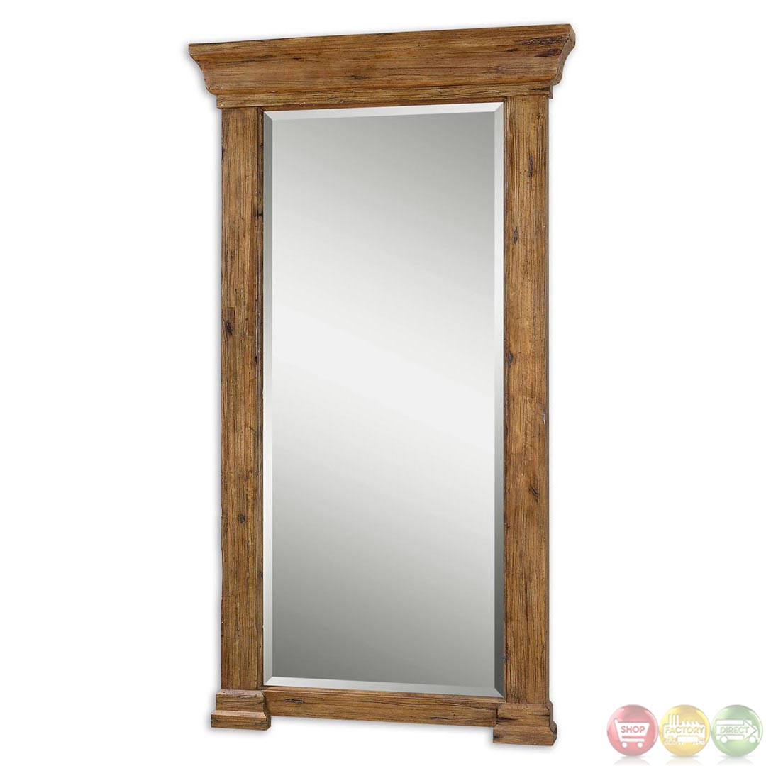 Letcher rustic antiqued hickory large wood mirror 09501 for Rustic mirror