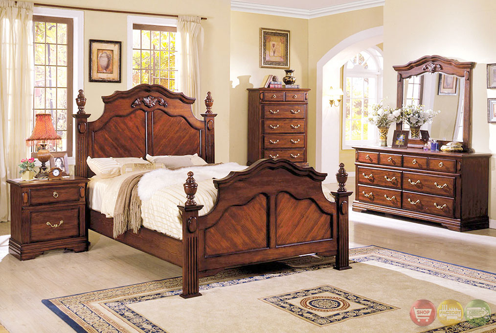 Lewisburg Traditional Dark Cherry Bedroom Set With French Dovetail Drawers Cm7721