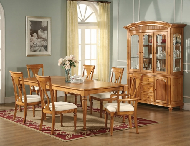 Lexington Formal Dining Light Oak Table Chairs Homelegance
