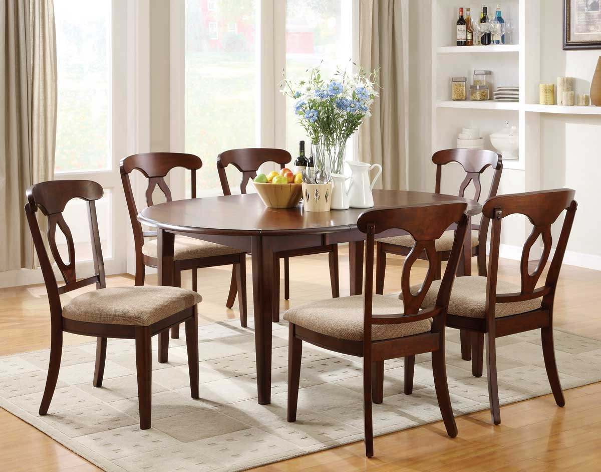 Liam cherry finish 7 piece space saver dining room set for Formal dining room furniture sets