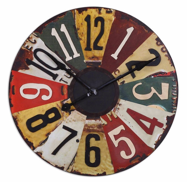 License Plates Vintage Clock Face Wall Clock  06675