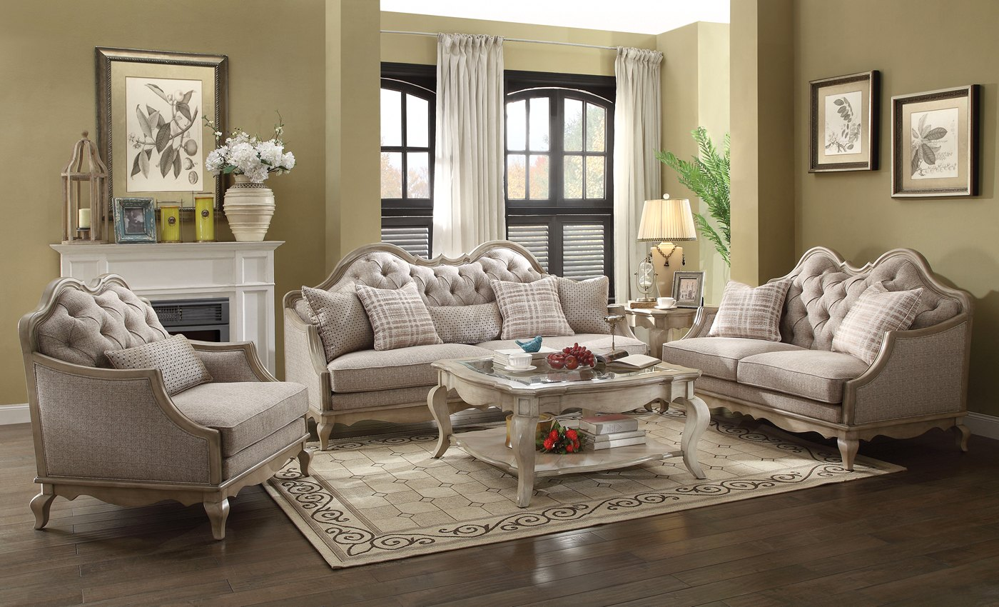Lichfield beige button tufted sofa loveseat set antique for Tufted couch set