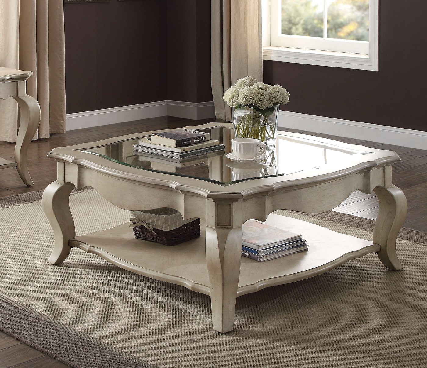 Lichfield Traditional Coffee Table w/ Glass Top in Antique ...