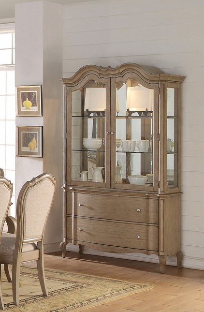 Lichfield Traditional Glass Door China Cabinet In Antique