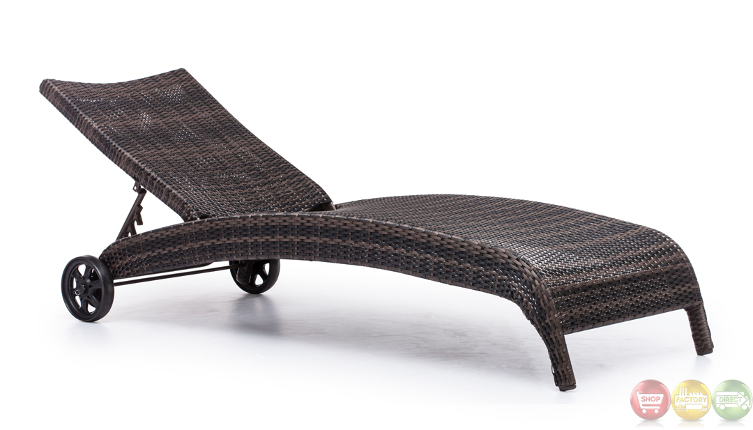 Lido brown chaise lounge zuo modern 703079 modern outdoor for Brown chaise lounge outdoor