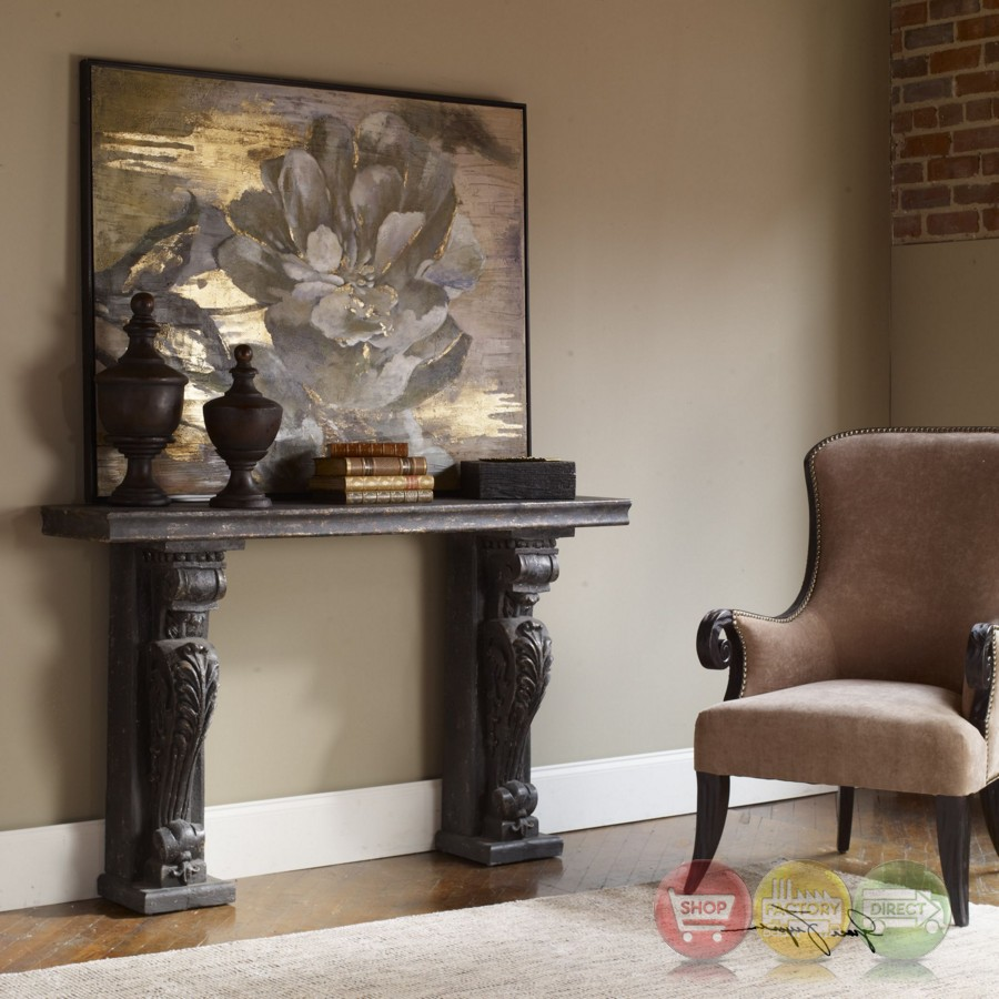 Liem Old World Black Grey Console Table With Acanthus Leaf