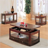 Lift Top Solid Wood Storage Coffee Table w/Two Drawers