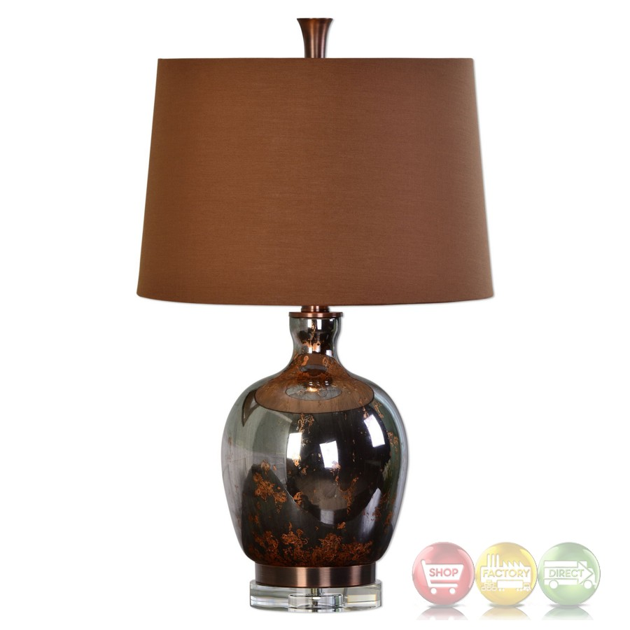 Lilas metallic rust bronze mercury glass table lamp wutg for Brown table lamp shades